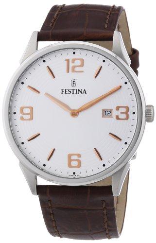 Festina F16518/5 - Reloj analógico de cuarzo para hombre con correa de piel, color marrón
