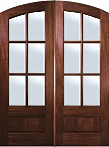 Prehung French Double Door 96 Wood Mahogany Arch 3 4 Lite 6 Lite 6 2 Entry Doors