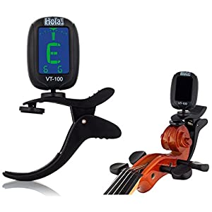 Hola! Chromatic Clip-on Tuner w/ Special Scroll Clip - Easy Tune Violin, Viola, Guitar and Ukulele