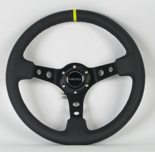 - 350mm Deep Dish 13.78 inches 06 Part # ST-006S-Y - Black Suede with Black Spokes//Yellow Stripe NRG Steering Wheel