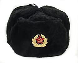 Hat Russian Soviet Army KGB * Fur Military Cossack Ushanka * Size XL Black