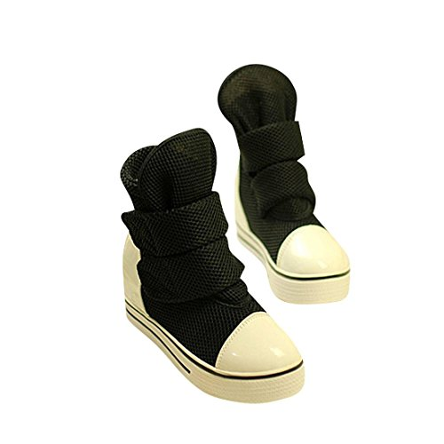 jeansian Moda Donna Casuale Tela Piattaforma Incunearsi Scarpe da Ginnastica Wedge Sneakers WSB051 Black 39