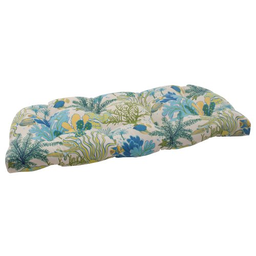 Pillow Perfect Indoor/Outdoor Splish Splash Wicker Loveseat Cushion, Blue image