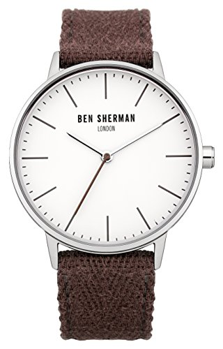 Ben Sherman Men's Quartz Watch with White Dial Analogue Display and Purple Nylon Strap WB009PA