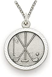 """.925 Sterling Silver Boy's Golf Sports Patron Saint St. 3/4"""" Medal with St. Christopher on Back Comes with a 20'' chain Pendant Necklace in a deluxe velvet box"""