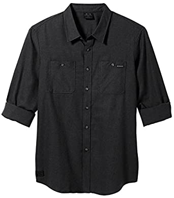 Oakley Men's Long Sleeve Classic Flannel Jet Black Button-up Shirt SM
