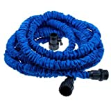 Worth and Nice Flexible Expandable Garden Hose 25Feet , Double Layer Latex Retractable Collapsible Garden Water Hose with 7 Functions Spray Nozzle,Expands to 3 Times Length (25Ft, Blue )