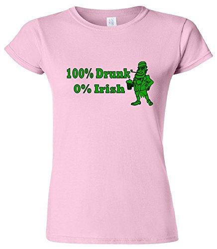 100% Drunk 0% Irish Funny Beer St. Patrick's Day Women's Junior Fit T-Shirt