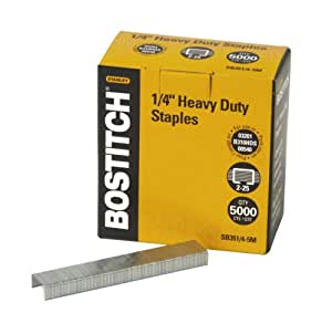 Bostitch Heavy Duty Premium Staples, 2-25 Sheets, 0.25 Inch Leg, 5,000 Per Box (SB351/4-5M)