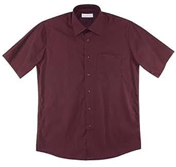 Biagio 100 cotton men 39 s short sleeve solid burgundy color for Solid color short sleeve dress shirts