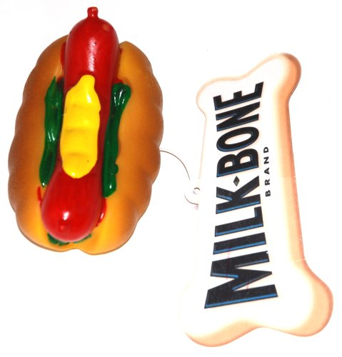Milk-Bone Vinyl Squeaky Chew Dog Toy – Hot Dog (1 Toy)