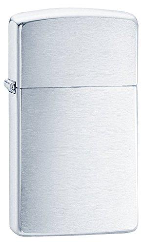 Zippo 1600 Accendino a Benzina Slim, Ottone, Cromato, 5,70 x 3,00 x 0,90 cm