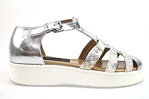 scarpe donna 4US 37 EU sandali argento bianco pelle lucida AP780-C