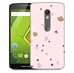 Snoogg Heart Pattern Pink Designer Protective Phone Back Case Cover For Motorola Moto X Play