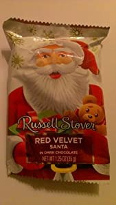 Russell Stover Red Velvet Santas in Dark Chocolate 6 Pack