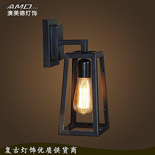 Applique in ferro home decor vento vintage industriale del vetro trasparente corridoio il corridoio illuminazione 150 * 120 * 350 (mm)