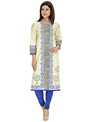 Tanvi White Cotton Straight Kurti For Women