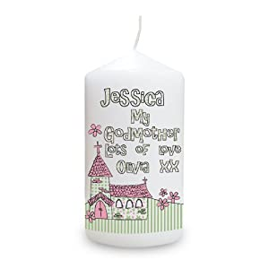 Personalised Whimsical Church Godmother Candle from Pmc