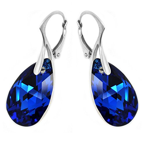 Sterling-Silver-Made-with-Swarovski-Elements-Electric-Blue-Teardrop-Leverback-Earrings-for-Women