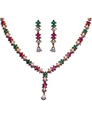 Gehna Pearl Ruby & Emerald Color Stone Studded Necklace Set Made In Metal