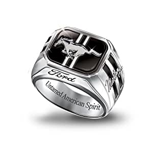 Engraved Sterling Silver Ford Mustang Men's Ring: Untamed