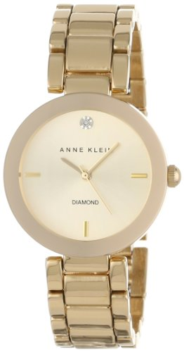 Anne Klein Women's AK/1362CHGB Diamond Dial GoldTone Bracelet Watch
