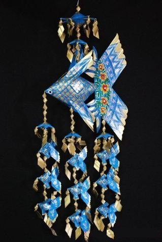 Handmade Large Fish Festoon Mobile With 9 Babies (Blue), Product Of Thailand + Free Shipping Worldwid front-519522
