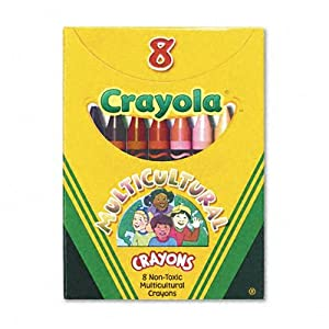 Crayola Multicultural Crayons, Wax, Eight Skin Tone Colors per Box