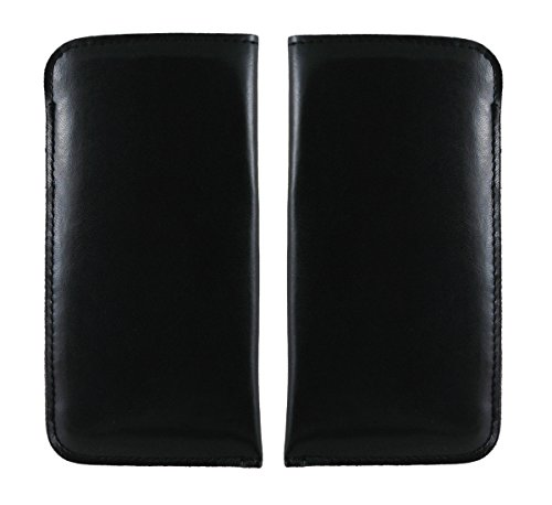 Premium Eyeglasses Pouch | for Medium frame Size | C15 Black - Pack of 2 with Microfiber Draw string pouch