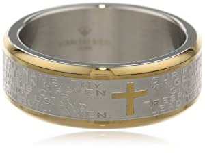 Men's Stainless Steel Two-Tone Lord's Prayer Band, Size 11