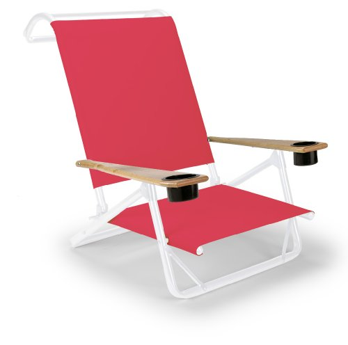 Telescope Casual Original Mini-Sun Chaise Folding Beach Arm Chair With Cup Holders, Red With Gloss White Frame
