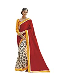 Status Red & Off White Color Printed Saree On Bhagalpuri Silk Fabric.
