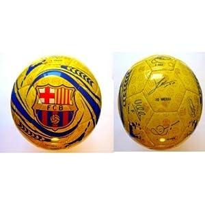 Ballon Jaune officiel, certifié Authentique du FC Barcelone, signé par l'équipe, taille 5 - Avec les tags et l'hologramme officiels
