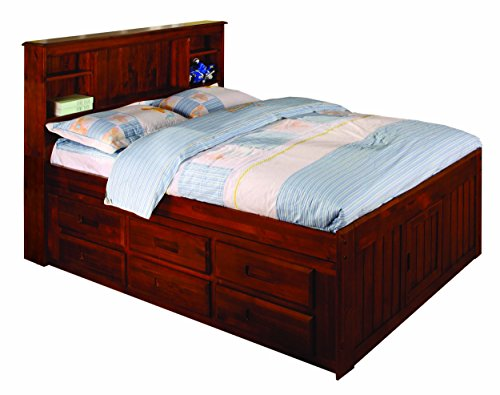Discovery World Furniture Bookcase Captains Bed with 6 Drawers, Full, Merlot (Full Captains Bed compare prices)