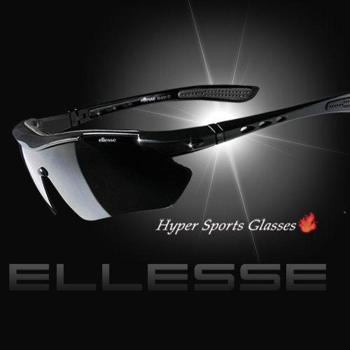 Ellesse スポーツサングラスES-S101  ブラック ブラックマット 偏光レンズ ミラーレンズ ハードケース