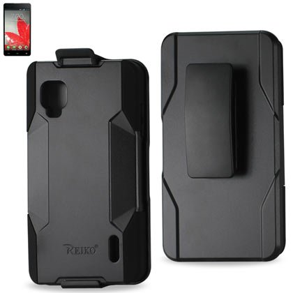 Reiko SLCPC09-LGLS970BK Premium Hybrid Case with Protective Cover and Kickstand for LG Optimus G LS970 - 1 Pack - Retail Packaging - Black (Lg Ls970 Case compare prices)