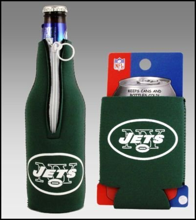 SET OF 2 NEW YORK JETS CAN & BOTTLE KOOZIE COOLER at Amazon.com