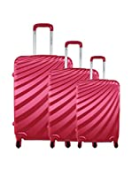 ZIFEL Set de 3 trolleys rígidos A18C (Rosa)