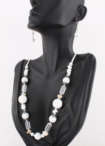 Ladies White Round Beaded with Clear Spacers 21 Inch Adjustable Necklace with Matching Dangle Earrings Jewelry Set