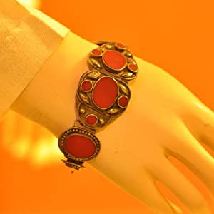 Bracelet - Red stone set in metal - dull silver finish (BRSDS)