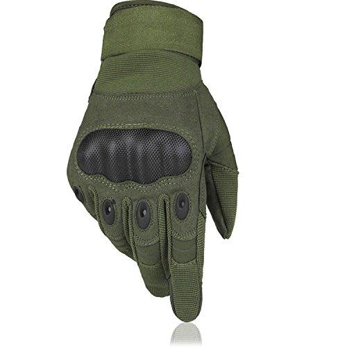 OMGAI® Guanti uomini pieni speciale luce della barretta guanti moto Andare in bicicletta di sport esterni d'escursione di campeggio Cross Country guanti (verde, XL)