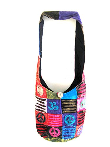 Boho Bohemian Peace Om Signs Sling Crossbody Hand Bag Monk Hippy Bag Tibet Razor Cut Tie Dye Purse - HEAVY DUTY COTTON - OMA® BRAND