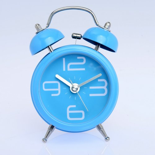 """4"""" Non-Ticking Loud Alarm Classic Design Yellow Black Big Number Twin Bell Alarm Clock With Nightlight (Blue) front-808795"""