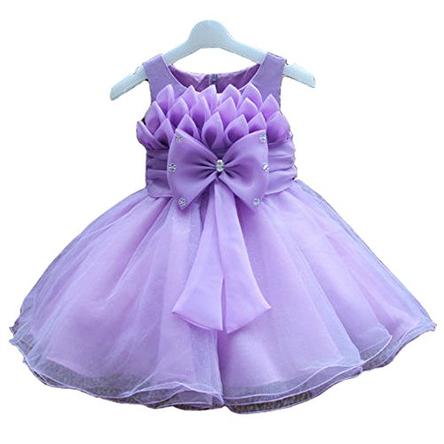 Zon-E Baby Girl'S Crystal Decorated Lotus Bowknot Special Occasion Dress Purple front-106677