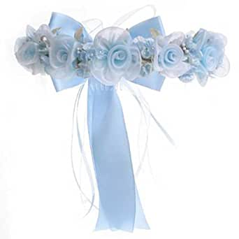 KID Collection Girls Angelic Organza Rose Flower Girl Halo Blue (kid CR52)