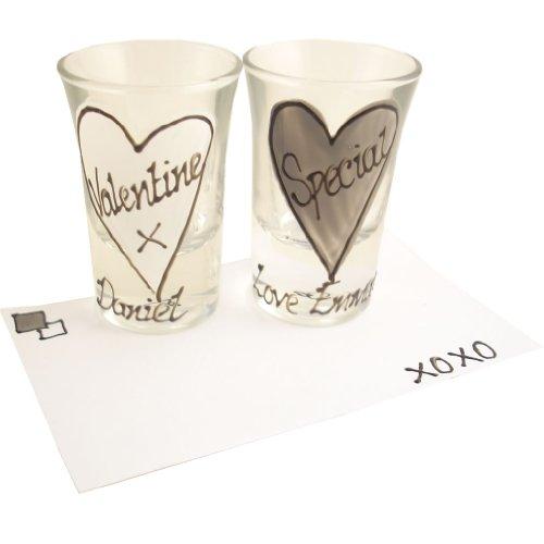 PERSONALISED Valentines Shot Glasses (2) Grey