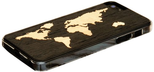 Find a Carved I5-CC1 – EBWORLD Wood Clear Case for iPhone 5/5S – World Map Inlay – 1 Pack – Retail Packaging – Ebony