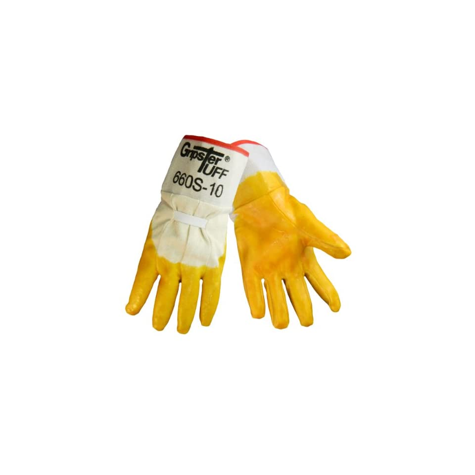 Global Glove 660S Gripster Rubber on 5 Piece Cotton Canvas Liner Glove with Safety Cuff, Work, Large, Smooth (Case of 72)