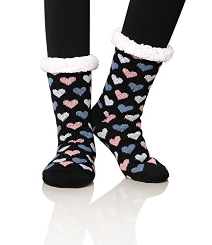 Dosoni Women's Fleece Lining Fuzzy Soft Christmas Knee Highs Stockings Slipper Socks (Heart Dark Grey) (Thermal Fleece Lined Socks compare prices)