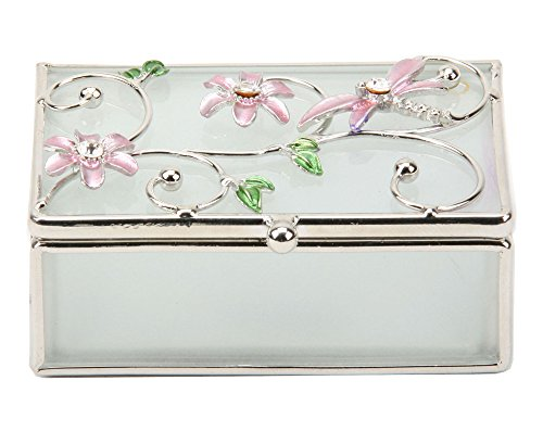 Dragonfly Flower Trinket Box Glass And Wire Oblong By Haysom Interiors